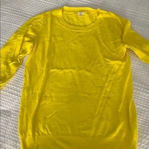 Yellow jcrew 3/4 length top